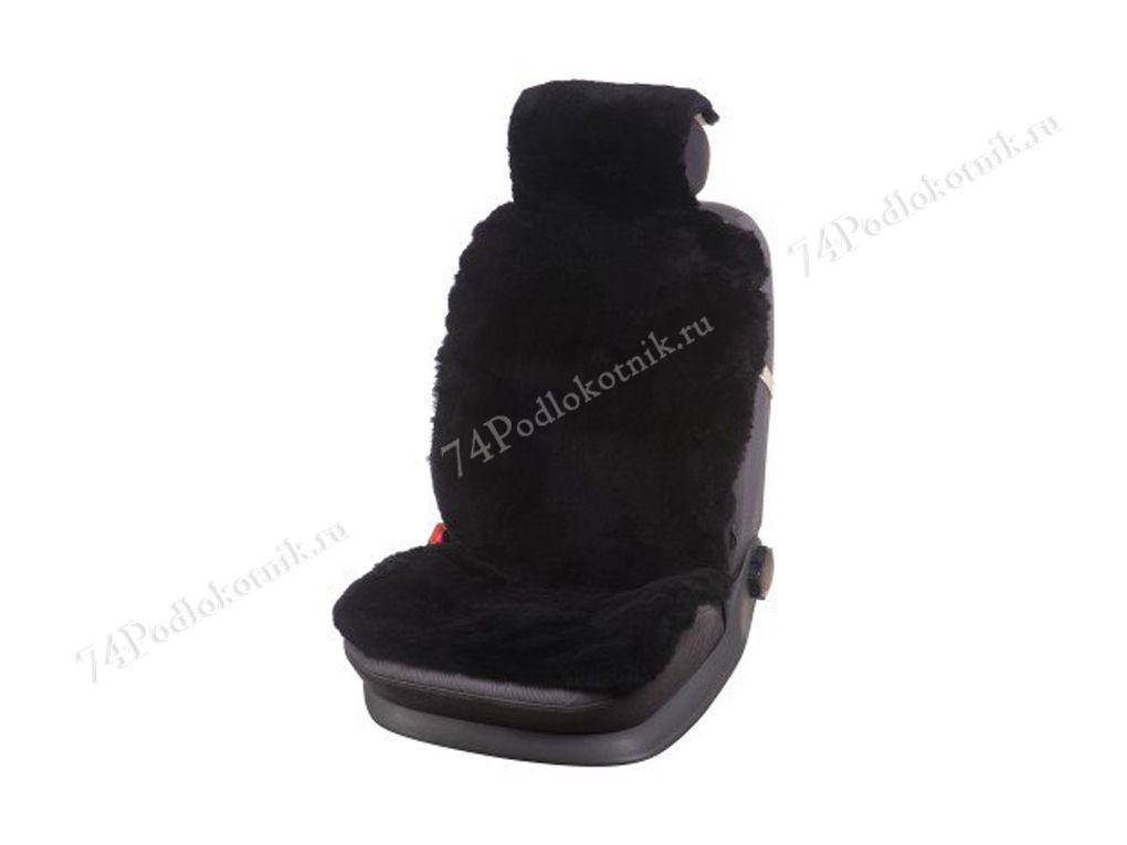 Меховая накидка на сиденье на автомобиля черная